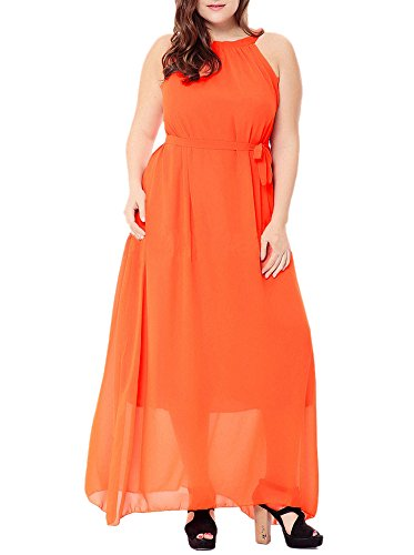 Dresses Floral Chiffon Beach Maxi Bohemian Print Sleeveless Afibi Orange Women's qOf688