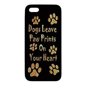 Bamboo Black Phone Case - Dogs Leave Paw Prints - for iPhone 5/5s
