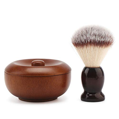 Shave Lather Brush, Wooden Vintage Shave Mug with Lid, Old Fashion Shaving Kits Beard Shaving Soap Cream Bowl Container for Men, Traditional Wet Shaving Kit