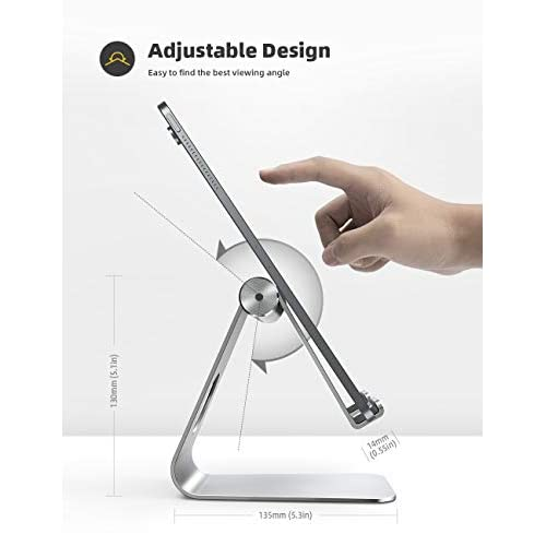 Tablet Stand Adjustable, Lamicall Phone Stand: Desktop Stand Holder Dock Compatible with Phone XS Max XR, New iPad 2018 Pro 9.7, 10.5, Air Mini 2 3 4, Kindle, Accessories, Tab (4-13 Inch) - Silver