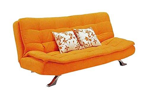 FabHomeDecor Supersoft Three Seater Sofa cum Bed (Orange)