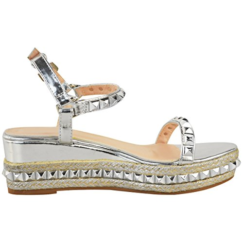 Fashion Thirsty Mujer con tachuelas Cuña Baja Alpargatas Sandalias Plataforma Oro Rosa Zapatos Talla Plata Metálico