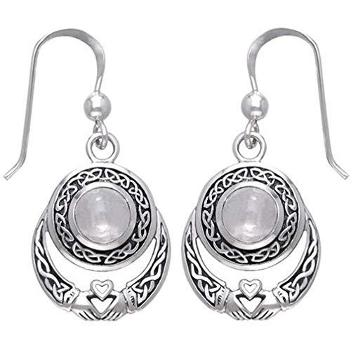 YESMAEA Faux Moonstone Earrings Heart Pendant Hollow Earrings Dangle Teardrop Earrings,White