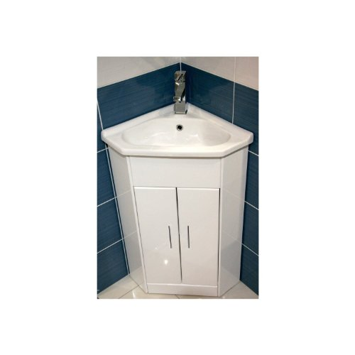 E Plumb White Compact Corner Vanity Unit Bathroom Furniture Sink