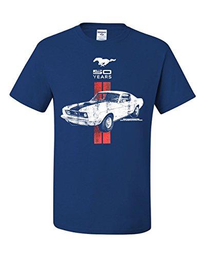 - Ford Mustang 50 Years T-Shirt GT Boss 302 Shelby Cobra Tee Shirt Royal Blue 3XL