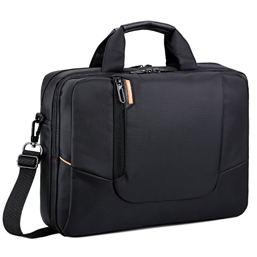 (BRINCH 14 inch New Soft Nylon Waterproof Laptop Computer Case Cover Sleeve Shoulder Strap Bag with Side Pockets Handles and Detachable for Laptop/Notebook/Netbook/Chromebook,Colour Black)