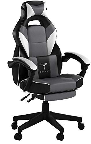 TOPSKY High Back Racing Style PU Leather Executive Computer Gaming Office Chair Ergonomic Reclining Design with Lumbar Cushion Footrest and Headrest (New Black&Gray) ...