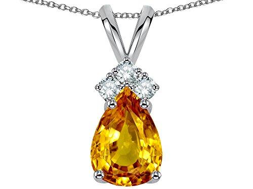 Pear Shape Citrine Necklace - Star K Pear Shape 8x6mm Genuine Citrine Rabbit Ear Pendant Necklace 14 kt Yellow Gold