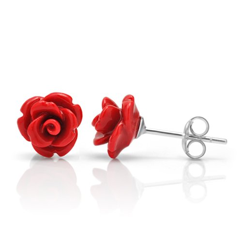 925 Sterling Silver Tiny Red Rose Flower 9 mm Post Stud Earrings (Red Rose Earrings)