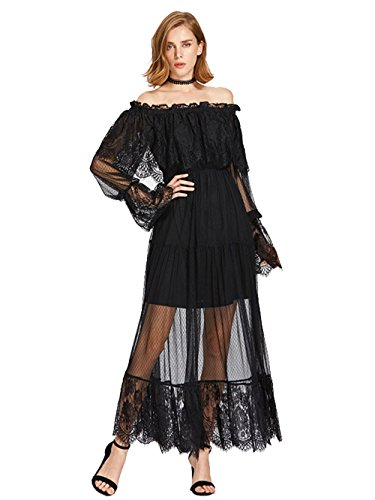Milumia Women's Bohemian Drawstring Waist Lace Splicing White Long Maxi Dress (Medium, Black)