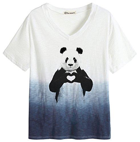 Love Dip Dye - So'each Women's Animal Panda Love Dip Dye Tee T-Shirt Ladies Casual Top