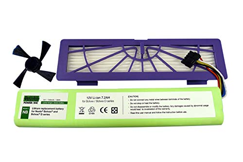 Lithium Neato Replacement Battery for Neato Botvac 70e, 75, 80, 85 and Botvac D75, D80, D85 Series, 7200mAh (Side Brush and HEPA Filter Included) - Botvac Connected Series not Supported (For Neato Vacuum Batteries)