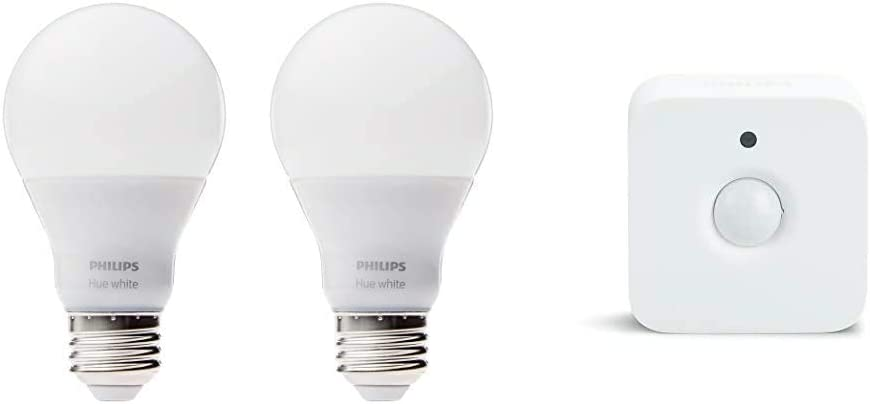 Philips Hue White A19 2-Pack 60W Equivalent Dimmable LED Smart Bulbs, Old Version & Hue Indoor Motion Sensor for Smart Lights (Requires Hue Hub, Smart Home, Exclusively for Philips Hue Smart Bulbs)