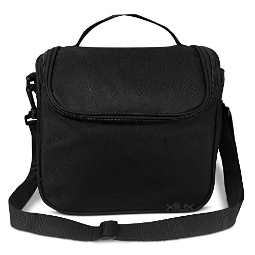 Black Insulated Lunch Bag for Women Men