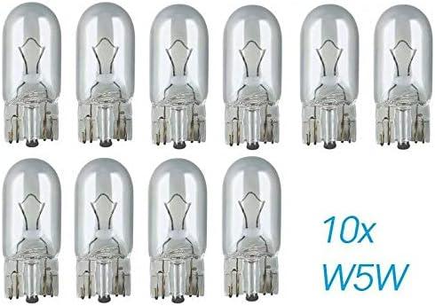 10pcs W5W T10 W2.1x9x5d Vision Super Wei/ß Original Jurmann Trade Ersatz Halogen Birne f/ür Standlicht Positionslicht Bremslicht Hecklicht Innenlicht Leselicht Blinker seitlich E-gepr/üft
