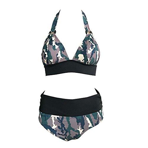 Tueenhuge Retro Vintage Elegant Bikini Two Piece Swimsuits High Waisted Swimwear (Green,L) ()