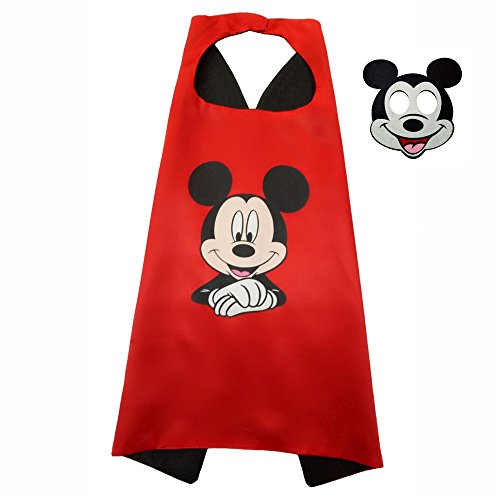 FASHION ALICE Girls Superman CAPE & MASK SET,Halloween Costume Cloak for Child (Mickey,Red and Black)