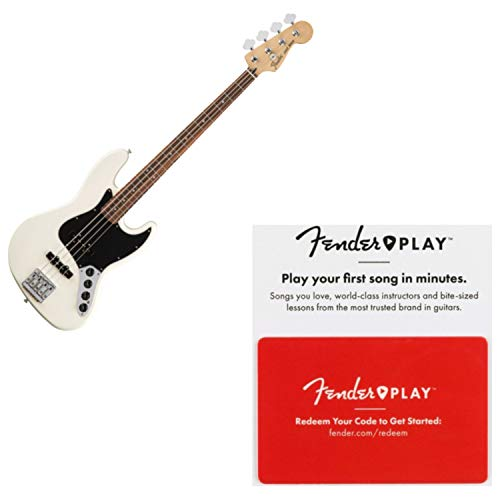 Fender Deluxe Active Jazz Bass Olympic White Pau Ferro FB Bass Guitar w/Fender Deluxe Active Jazz Bass Guitar