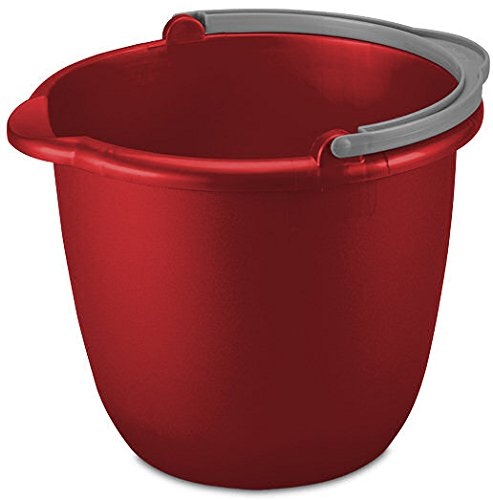 10 Quart 9.5 L Heavy Duty Sturdy Spout Pail Bucket Organizer Household Cleaning Supplies Projects Mopping Storage Comfortable Durable Grip Pour Handle-Red (1)