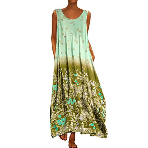 Shelf Bust Dress - Aniywn Oversized Dress Women's Sleeveless Casual Print Floral Loose Party Long Dress Plus Size Green