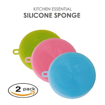 Silicone Scrubber For Kitchen Non Stick Dishwashing & Baby Care Sponge Brush Household Health Tool in size (11.511.51.5cm) Set of 2 Random Colors Opp bag