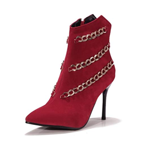Tacón Tobillo hasta El Botas Stiletto Mujer Nobuck Cn38 Puntiagudo 5 Uk5 Invierno Nulo Dedo Eu38 Zapatos Cuero Moda para Nvxuezix Primavera De 5 Botines Us7 PTWavnvZ