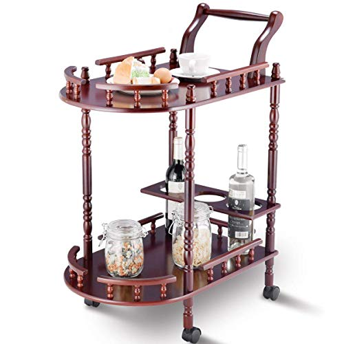 Giantex Serving Cart Kitchen Trolley Island Cart Solid Wood Home Commercial 2-Tier Rolling Island Cart w Wheels Handle Bottle Holder Guard Rails Cherry