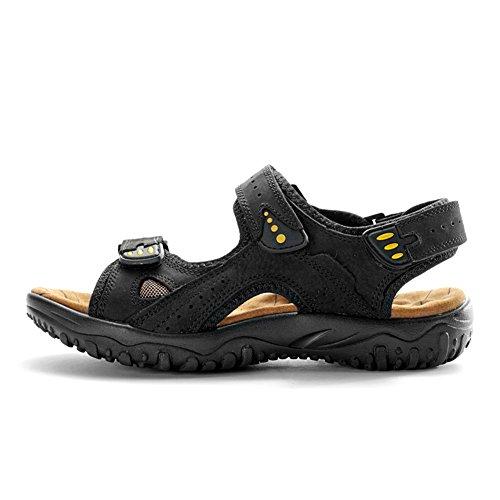 Gomnear Lichtgewicht Heren Lederen Sandalen Mode Sandaal Zomer Strand Ademende Slipper Schoenen Zwart