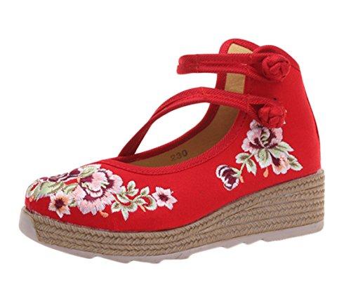 Insun Zapato Bailarinas con Correa Plataforma Hebilla Estilo Mary Jane Rojo