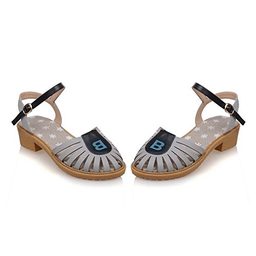 AmoonyFashion Womens Soft Material Buckle Closed Toe Low-heels Assorted Color Sandals Gray Wj4oZ68wJM