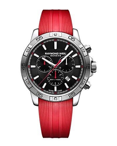 Raymond Weil Men's Tango 300 Swiss-Quartz Watch with Stainless Steel Strap, red, 20.3 (Model: 8560-SR2-20001