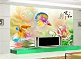 beibehang Papel de Parede 3D Custom 3D behang Coin Goldfish Lotus TV Background Vinyl Wall Papier peint Mural 3D hudas Beauty