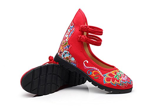 Avacostume Womens Lotus Totems Broderie Augmentation Cheville Sangle Robe Chaussures Rouge