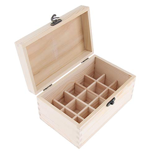 (kesoto Wooden Essential Oil Box Organizer, 15 Slots for 20ml Bottles, Removable Pad)