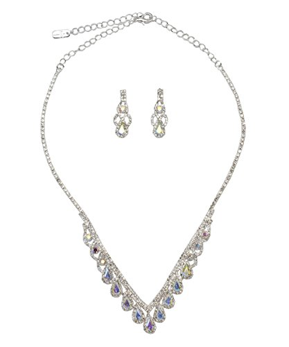 DK FASHION Rhinestone Vintage Simple Necklace Earring Jewelry Set For Womens Girls (Silver/AB) ()