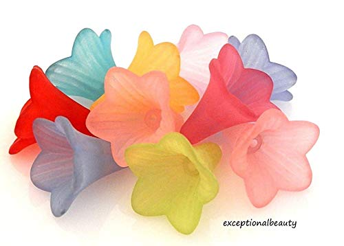 Lily Flower Beads - 25 Assorted Mix 21mm Trumpet Lily Scalloped Tulip Frosted Lucite Flower Beads