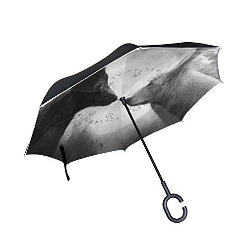 Cheap ALAZA Magic Moon Wolf Inverted Umbrella, Large Double Layer Outdoor Rain Sun Car Reversible Umbrella