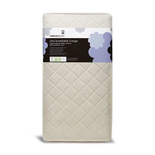 Naturepedic Breathable Organic Crib Mattress - 2-Stage - Lightweight - Baby & Toddler Bed - with Premium Quilted Protector Pad