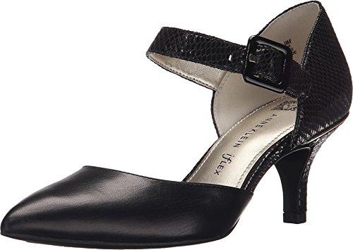 Anne Klein Women's AKFinale Black/Black Fabric Shoe