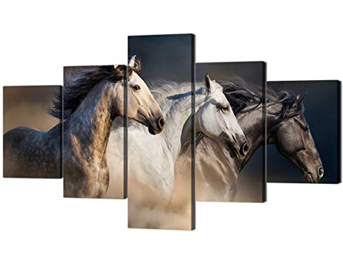 Large Size Wall Art Running Horse Trot On The Field On Sunset Grass and Flower Painting Pictures Print On Canvas Animal The Picture for Home Modern Decoration(70''Wx40''H) (The Running Horses)