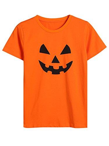 Catmama Halloween Pumpkin Costume Kids Boys' Short Sleeve T-shirt (6T, Orange)
