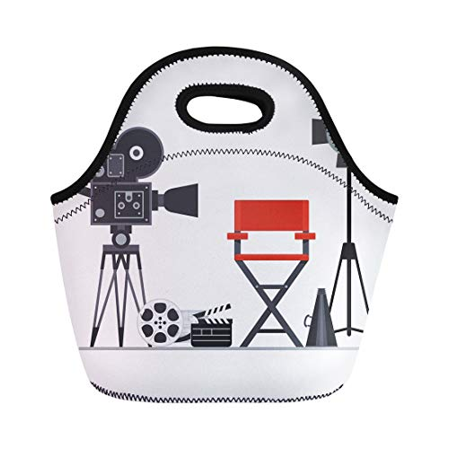 Semtomn Lunch Bags Film Directors Chair Megaphone Projector Camera and Clapboard Work Neoprene Lunch Bag Lunchbox Tote Bag Portable Picnic Bag Cooler Bag ()