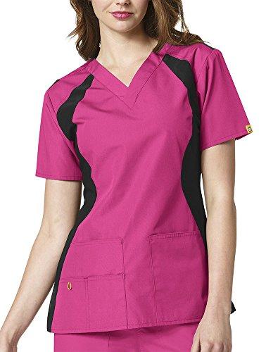 WonderWink Women's Origins Lima Plus Size Scrub Top, Hot Pink, 3X-Large