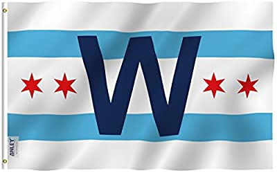 Anley |Fly Breeze| 3x5 Foot Chicago Cub Win Combo Flag - Vivid Color and UV Fade Resistant - Canvas Header and Double Stitched - Chicago City W Wrigley Field Flags Polyester with Grommets 3 X 5 Ft