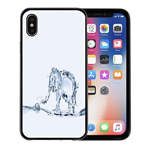 Semtomn Phone Case for Apple iPhone Xs case,Blue Bathing Elephant Made of Water Spraying Wet Africa Animal Big for iPhone X Case,Rubber Border Protective Case,Black