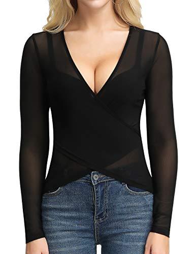 Women's Deep V-Neck Long Sleeve Unique Cross Wrap T-Shirt Semi See-Through Tops(M,Black) ()