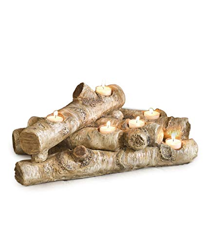 Plow & Hearth Faux Wood Resin Logs Tea Lights Candle Holder, Birch