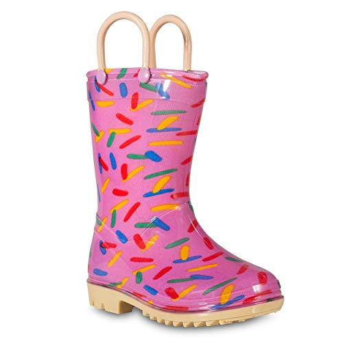 (ZOOGS Children's Rain Boots with Handles, Little Kids & Toddlers, Boys & Girls, Purple (Sprinkles), US 8T)