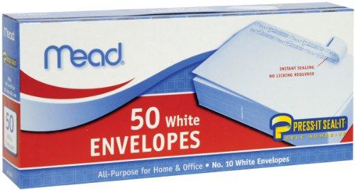 043100750246 - Mead #10 Envelopes, Press-It Seal-It, White, 50/Box  (75024) carousel main 0
