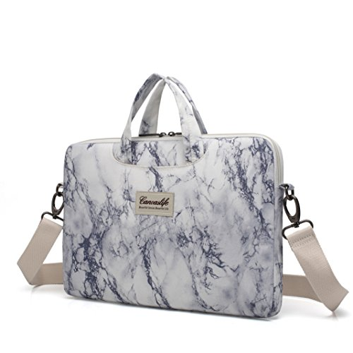 Canvaslife Marble Pattern Waterproof Laptop Shoulder Messenger Bag Case Sleeve for 14 Inch 15 Inch Laptop 15 Case Laptop Briefcase 15.6 Inch